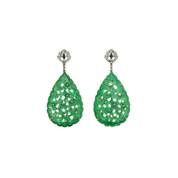 Earrings 18 Kt Gold Silver Dia Jade Sapp