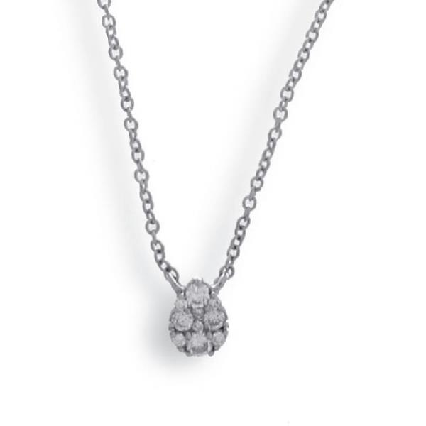 Pendant with Chain 18 Kt White Gold Diam