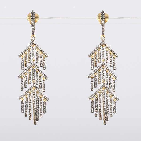 Earrings 18 Kt Gold Silver Diamonds