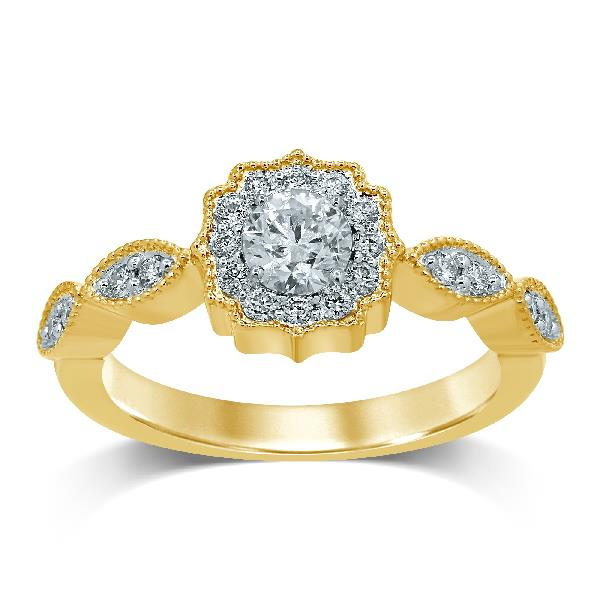 Ring 18 Kt Yellow Gold Diamonds