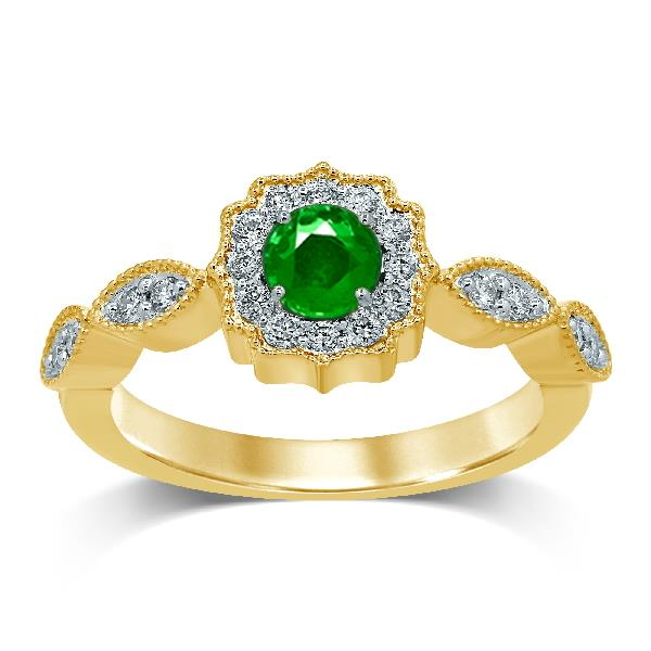 Ring 18 Kt Yellow Gold Diamonds Emerald