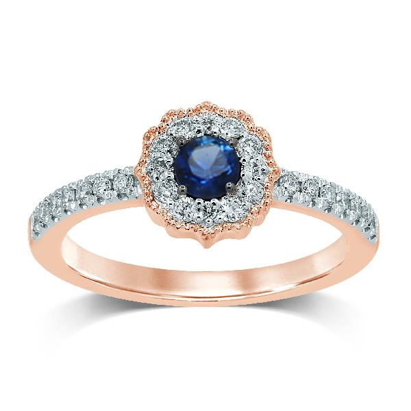 Ring 18 Kt Rose Gold Diamonds Sapph