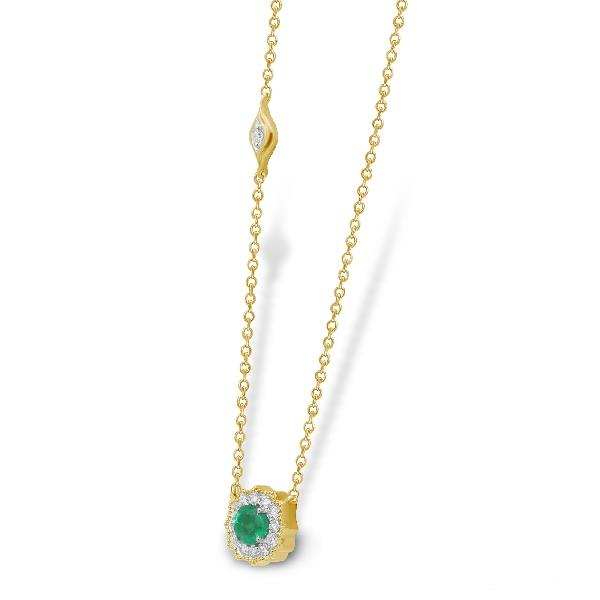 Necklace 18 Kt Yellow Gold Diam Emerald