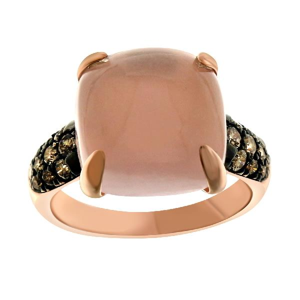 Ring 18 Kt Rose Gold Br Dia Rose Quartz