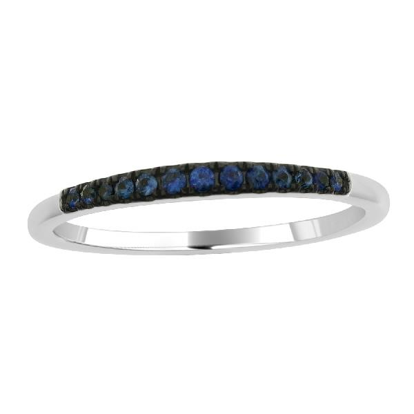 Ring in 18Kt White Gold Blue Sapphires