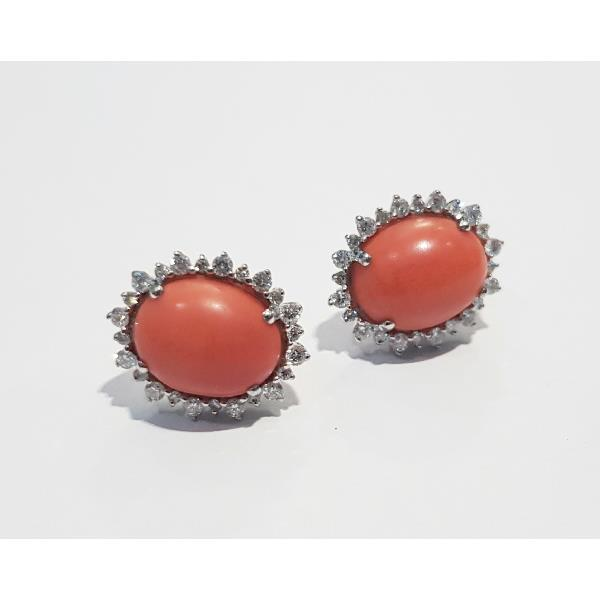 Earrings 18 Kt White Gold Diamonds Coral