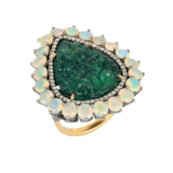 Ring 18 Kt Gold Silver Dia Eme Opal