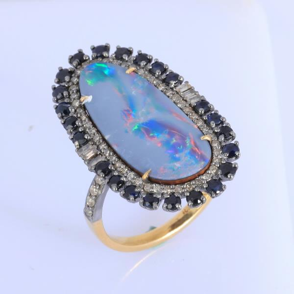 Ring 18 Kt Gold Silver Diam Colorst