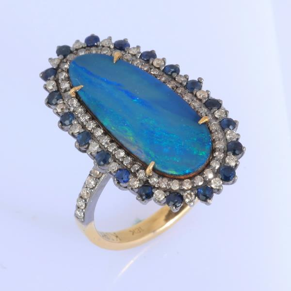 Ring 18 Kt Gold Silver Diam Opal Sap