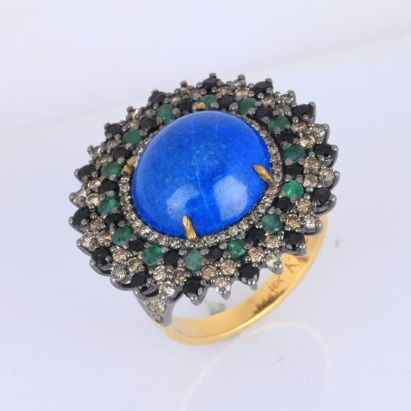 Ring 18 Kt Gold Silver Diam Lapis