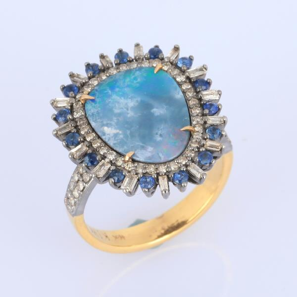 Ring 18 Kt Gold Silver Diamonds Opal