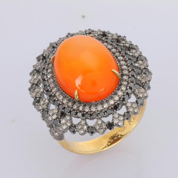 Ring 18 Kt Gold Silver Diamonds Org Opal