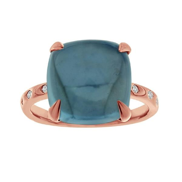Ring 18 Kt Rose Gold Diam Blue Topaz