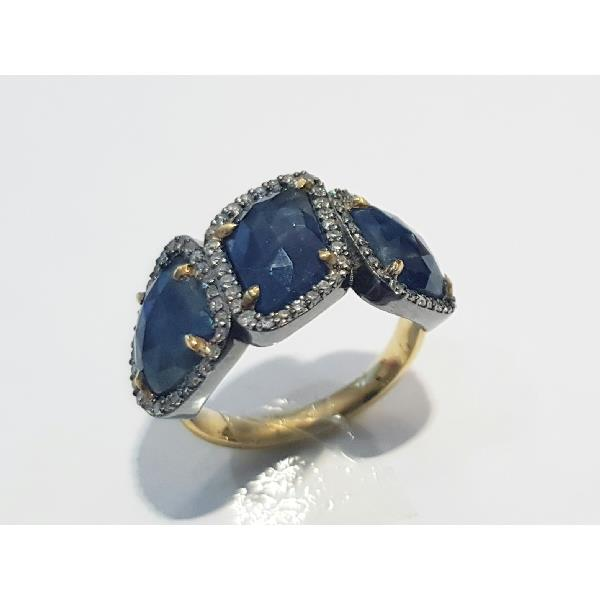 Ring 18 Kt Gold Silver Diam Sapphires