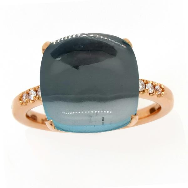 Ring 18 Kt Rose Gold Diamonds Topaz