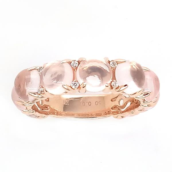 Ring 18 Kt Rose Gold Diamond Roze Quartz