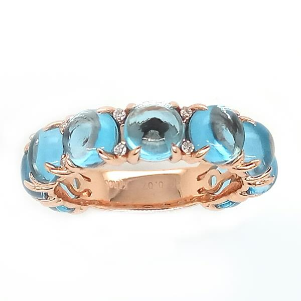 Ring 18 Kt Rose Gold Diamond Blue Topaz