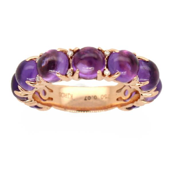 Ring 18 Kt Rose Gold Diamond Amethyst