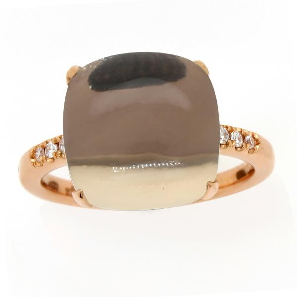 Ring 18 Kt Rose Gold Diam Rose Quartz