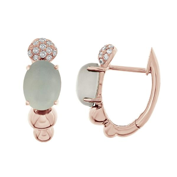 Earrings 18Kt Rose Gold Diamonds Agate