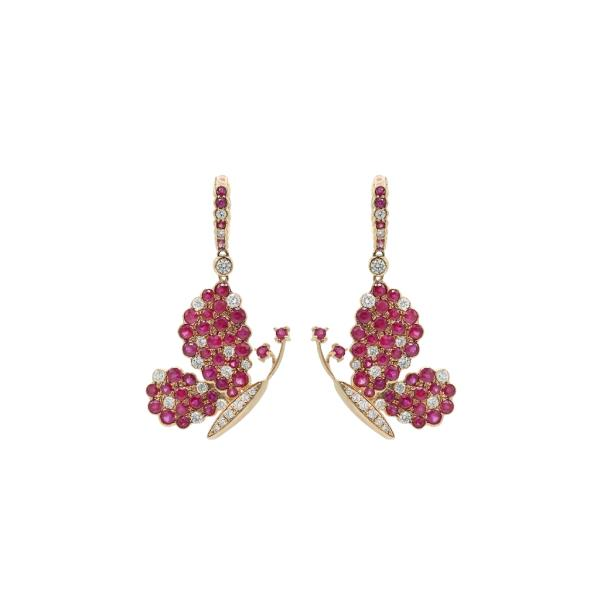 Earrings 18 Kt Rose Gold Diamonds Rubies