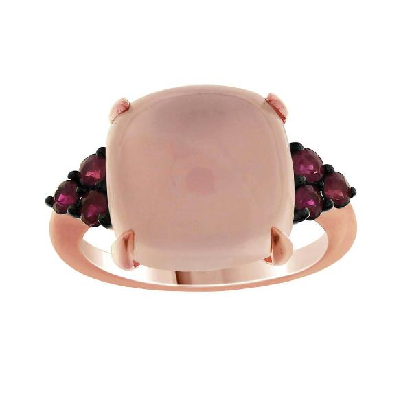 Ring 18 Kt Rose Gold Rose Quartz