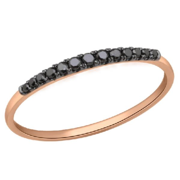 Ring 18 Kt Rose Gold Black Diamonds