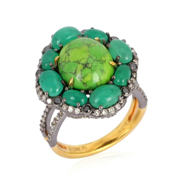 Ring 18 Kt Gold Silver Diam Turq Emerald