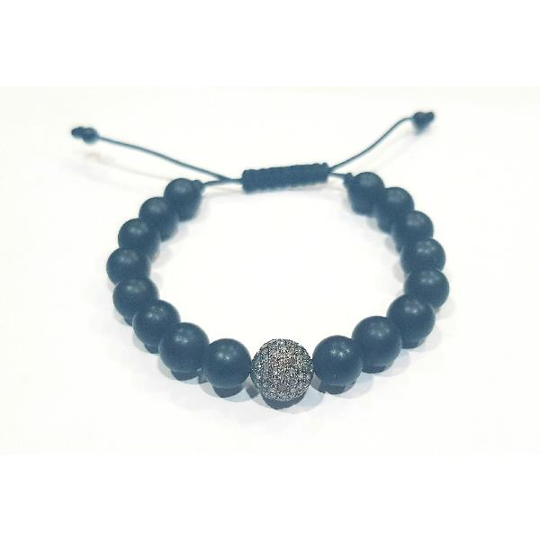Bracelet in Silver Diamonds & Onyx
