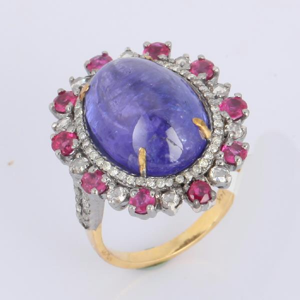 Ring 14 Kt Gold Silver Diam TZ Ruby