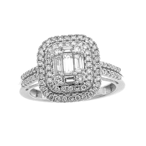 Ring in 14 Kt White Gold & Diamonds