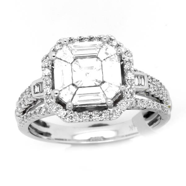 Ring 14 Kt White Gold & Diamonds