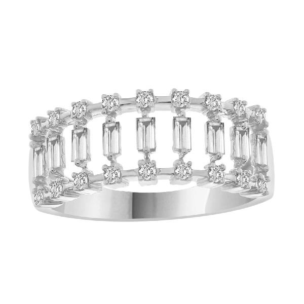 Ring 14 Kt White Gold &b Diamonds
