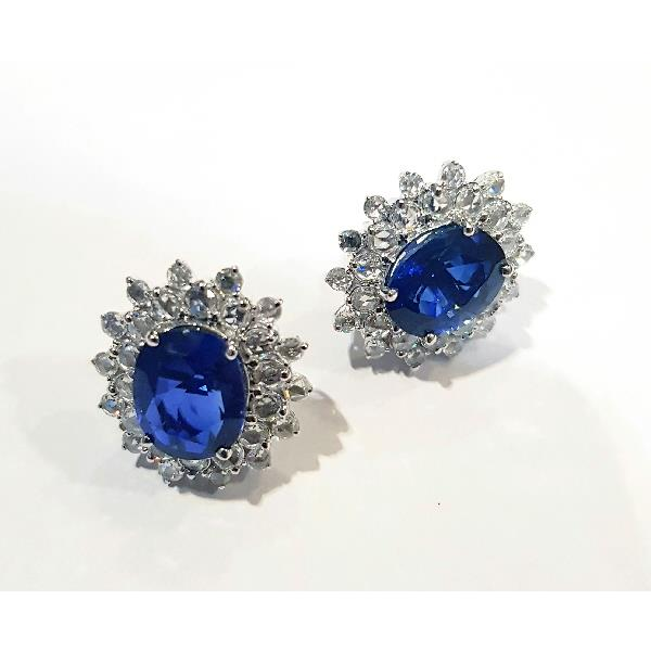 Earrings 18 Kt White Gold Diam Sapphires