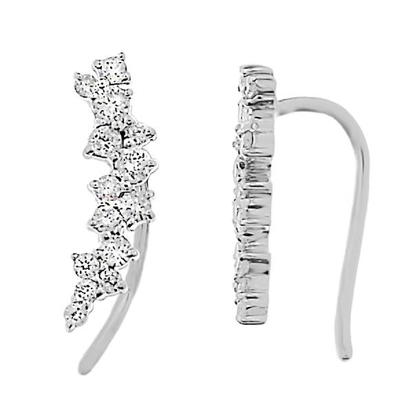 Earrings 18 Kt White Gold & Diamonds