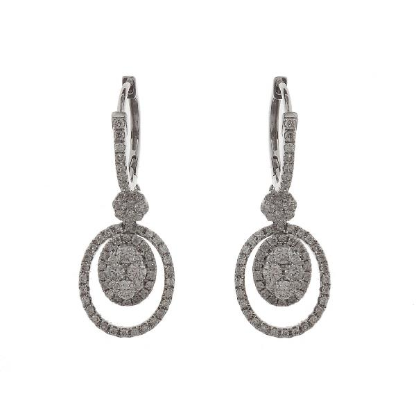 Earrings 14 Kt White Gold & Diamonds