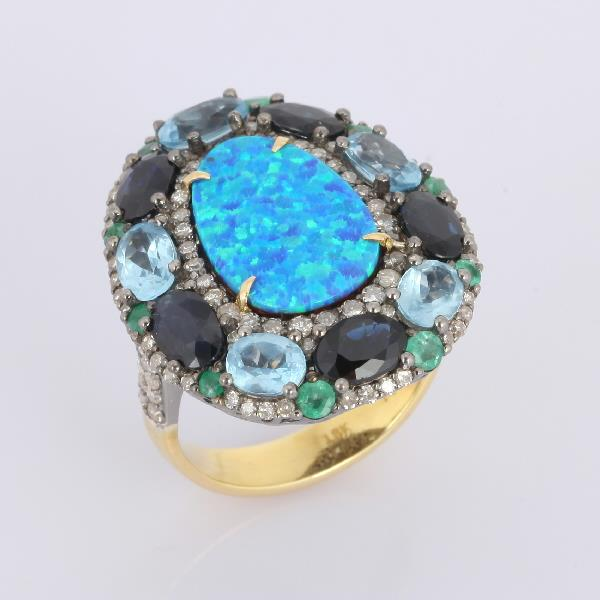 Ring 18K Gold Silver Diam Sap Em Opal To