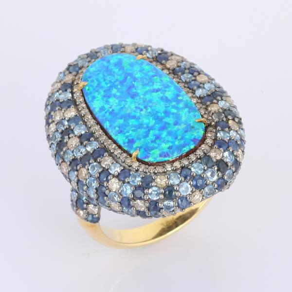 Ring 18K Gold Silver Diam Aq Sap Opal