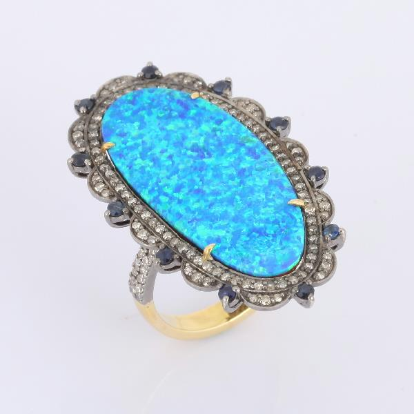 Ring 18K Gold Silver Diam Sap Opal
