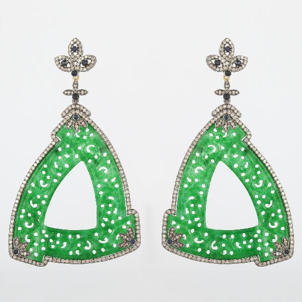 Earrings 18K Gold Silver Diam Sap Jade