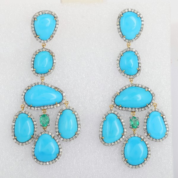 Earrings 14 Kt Gold Silver Diamonds Turquoise Emeralds