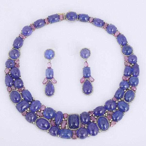 Necklace+earrings 14 Kt Gold Silver Diamonds Sapphire Tanzanite