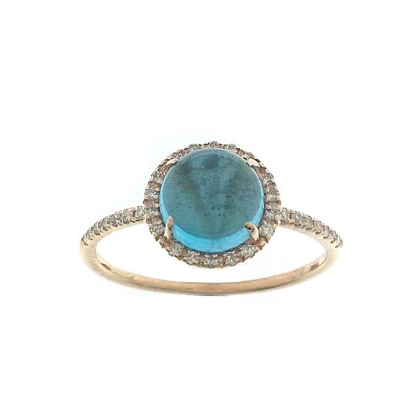 Ring 18K Rose Gold White Dia Moonstone
