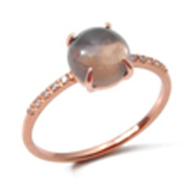 Ring 18K Rose Gold White Dia Smokey