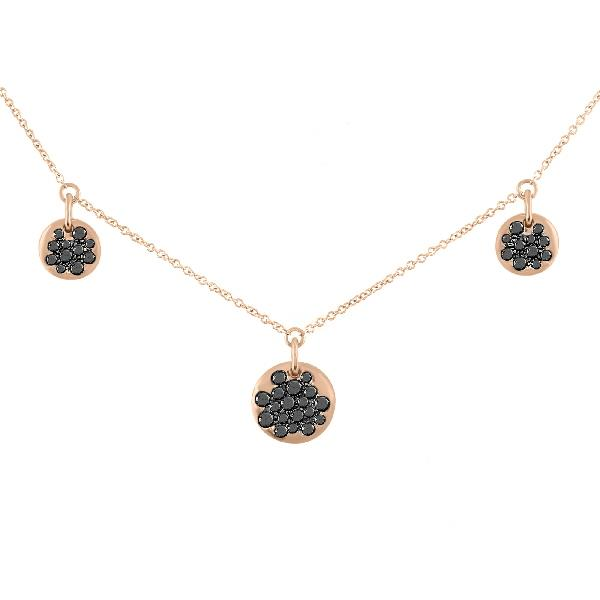 Necklace 18KT Rose Gold Black Diamond