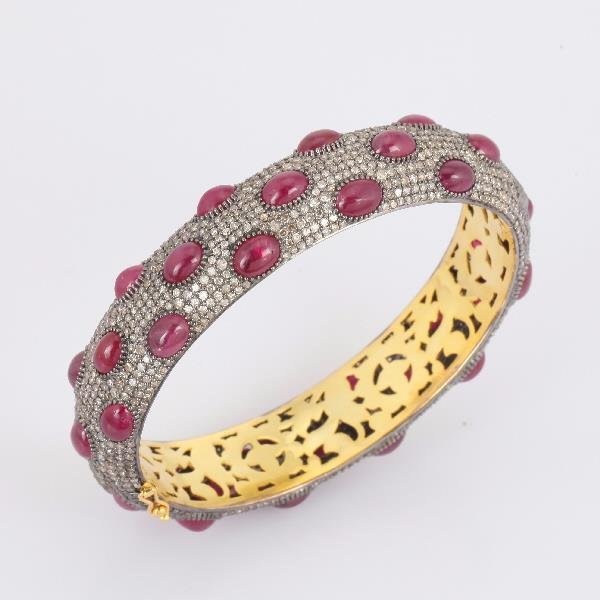 Bangle 18Kt Gold Silver Diam Ruby