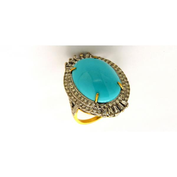 Ring 14Kt Gold Silver Diam Turquoise