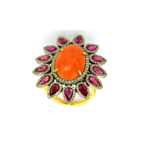 Ring 14Kt Gold Silver Diam Ruby coral