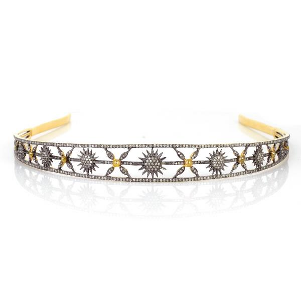 18Kt Gold& Silver crown with diamonds