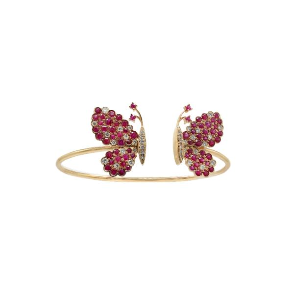 Bangle 18 Kt Rose Gold Diamonds Rubies